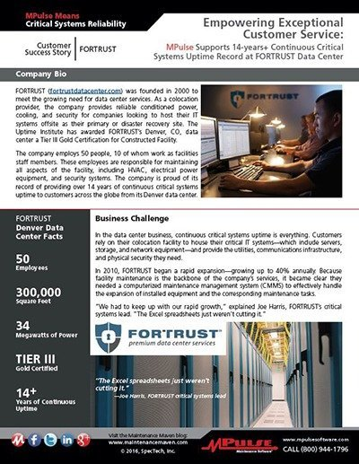 FORTRUST Data Center Uses MPulse Software, Inc to Empower Excellent Customer Service