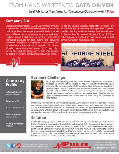 Manufacturing: St. George Steel Shifts from Hand Written to Data Driven