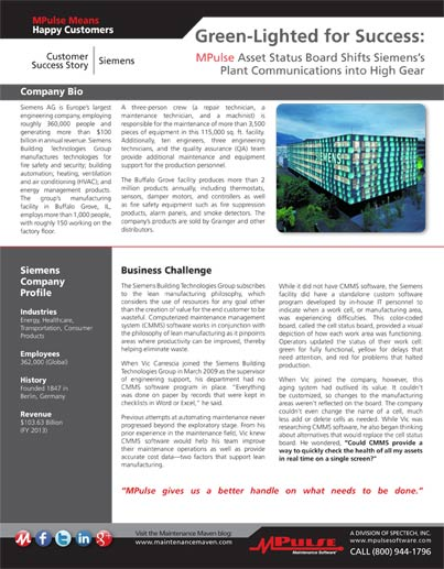 Manufacturing: Siemens Building Technologies Bolsters Plant Communications